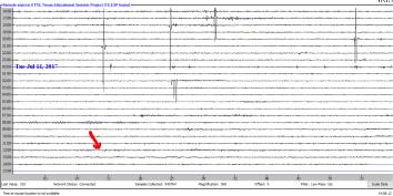 Screenshot of the 11July2019 mb 5.4 Ecuador earthquake (barely detectable)